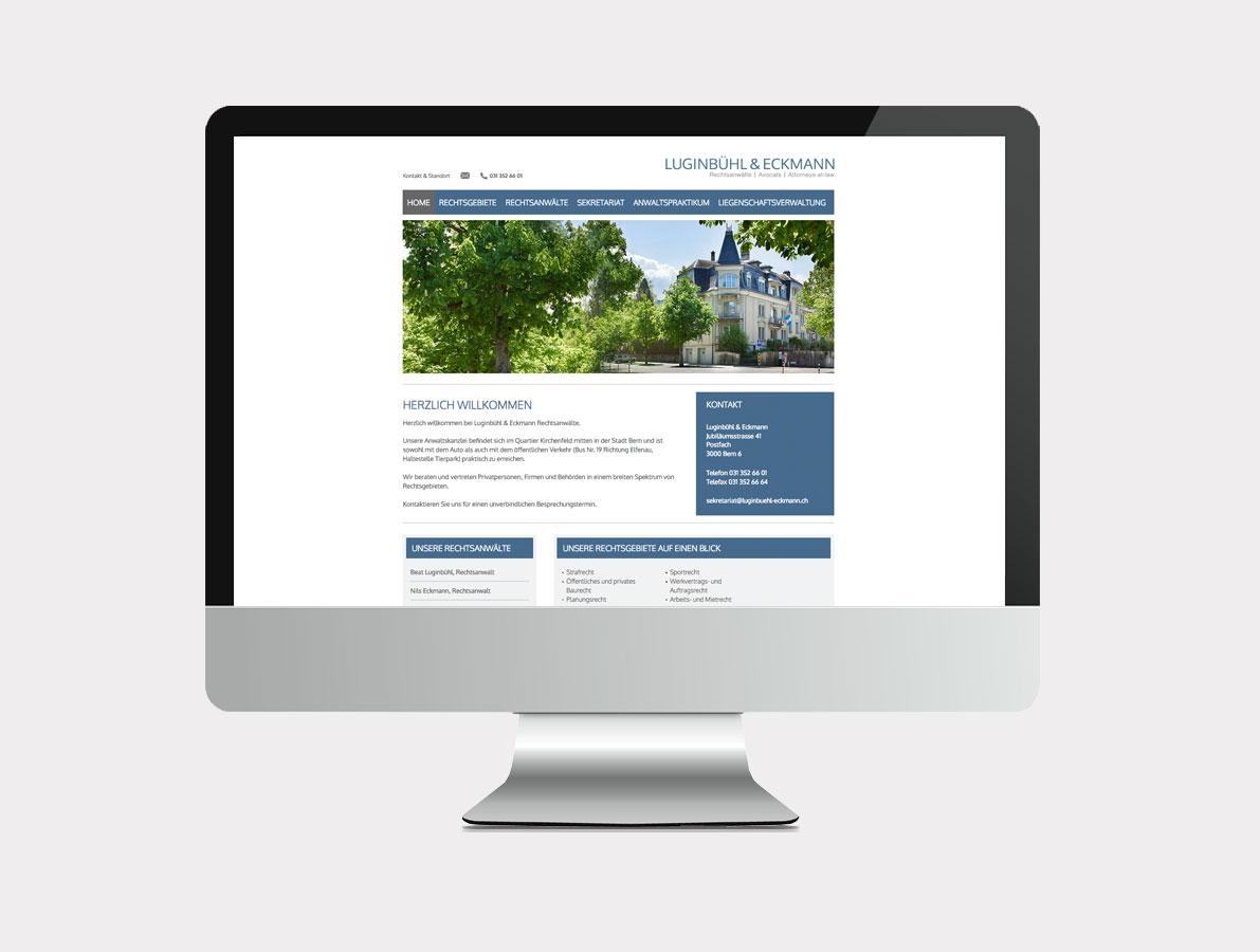 Websansicht Luginbühl&Eckmann Rechtsanwälte