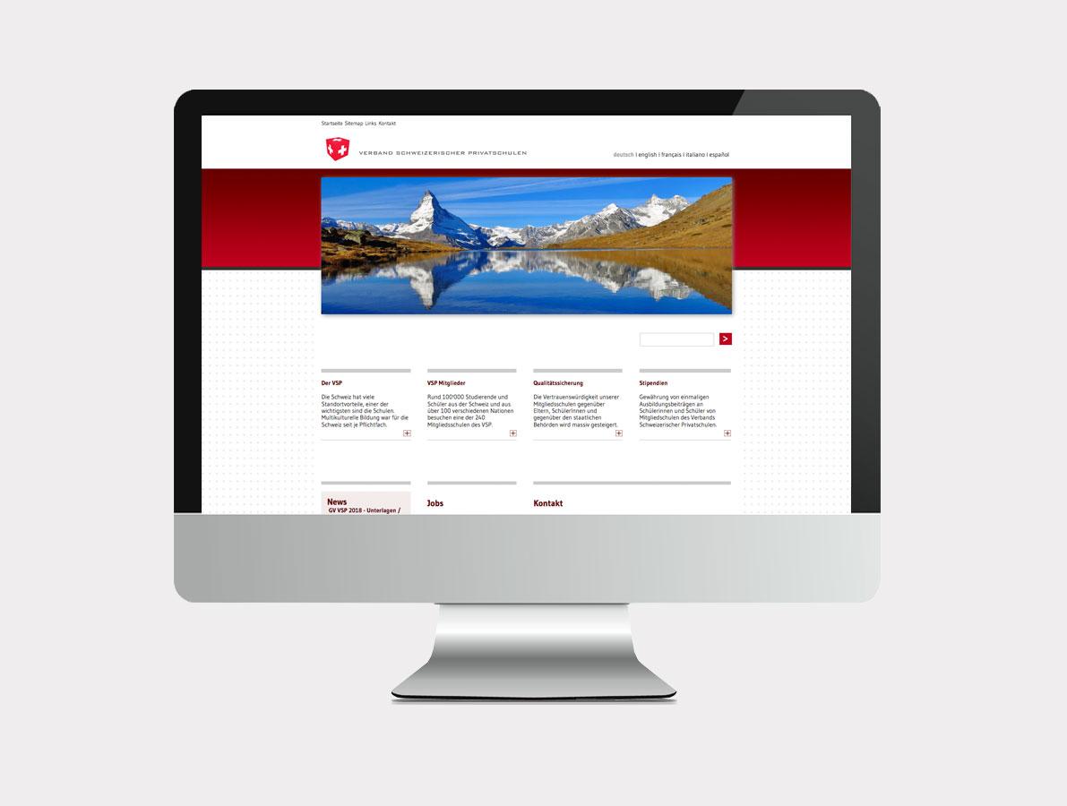 Webansicht Verband Schweizerischer Privatschulen (VSP)